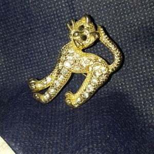 Vintage Cat Pin and Brooch. Petite and Flashy!